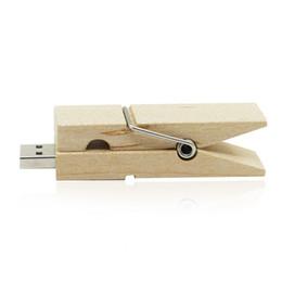 Wholesale Pen Drives 8gb - HanDisk Wooden Clip USB Flash Drive 16GB 32GB 64GB 128GB 8GB Usb Pen Drive Portable Hard Drive 128MB 1GB Memory stick EU055