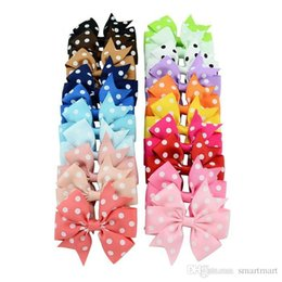 Wholesale Flowered Fabrics - Christmas Kids Girls Fabric Flowers Hair Bows Wave Point Clips 20 Color For Children Hair Accessories Hair Bands 20 pcs lot