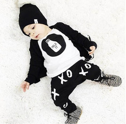 Wholesale Baby Logo T Shirts - baby boys suit kids brand tracksuits boys Bottle logo sleeve T-shirt+pants 2 sets free shipping hot sale new fashion spring autumn.