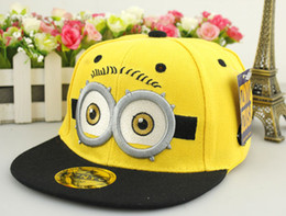 Wholesale Flat Hats For Kids - 4 colours Minions big eyes Hip Hop baseball Cap Adjustable hats for 2-6 years kids Snap back Fishing Cap sports cartoon Hat