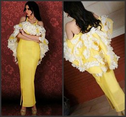 2016 Nuevo Estilo Amarillo 3D Floral Prom Vestido de Fiesta de Árabe Mermaid Off hombro hasta el tobillo Split Arabia Saudí Vestido de noche desde fabricantes