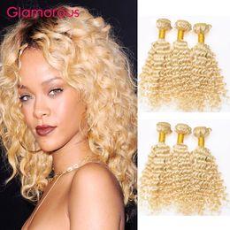 Wholesale Human Hair 26inch - Glamorous Blonde Human Hair Weaves 3 Bundles 12-26Inch #613 Brazilian Malaysian Peruvian Indian Deep Wave Curly Hair Extensions Wholesale