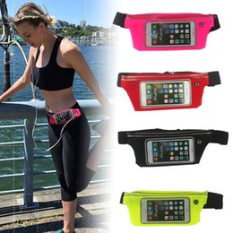 Wholesale Iphone Holders For Belt - Waterproof Sport Running Bag Screen Touch Running Belt Pouch Mobile Phone Holder For iPhone Samsung Sony Waist Bag Women Man