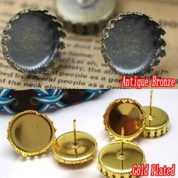 Wholesale Crown Cabochons - 100pcs Antique Bronze-Gold Plated Earring Studs Jewelry with inner 15mm Crown edge Bezel Setting Tray for Cameo Cabochons