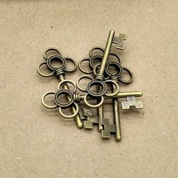 Wholesale Old Brass Keys - 55*24mm big old brass color classic key charms pendant for DIY jewelry making accessories 50pcs lot