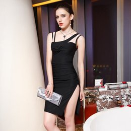 Wholesale Large Cocktail Dresses - Buttock Dresses Summer Sleeveless Fashionable Women's Clothes Large Code Pure Color Sexy Open Cross-Dress Cocktail Party Evening Dress