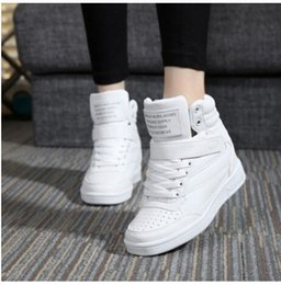 Wholesale Lime Green Wedge - 2017 spring autumn ankle boots heels shoes women casual shoes height increased wedges shoes high top