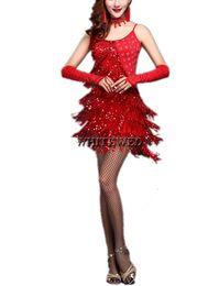 Wholesale Latin Dance Dresses Fringe - Fringe Sequin Tassel Gatsby Style Ladies Latin Ballroom American Flapper Tango Dance Team Competition Costumes Dress Collection