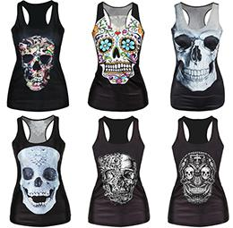 Wholesale Women S Skeleton Tank Top - Wholesale-New 2016 Skeleton Head Series 3D Printed Punk Tank Tops Summer Style Harajuku Sleeveless Sport Camisoles Fitness Women Sexy Vest