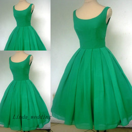Wholesale Emerald Green Short Dresses - Vintage 1950's Short Emerald Green Cocktail Dress Sexy Scoop Neck Chiffon Cute Party Prom and Homecoming Dress