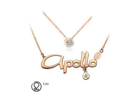 zodiac steel pendant Promo Codes - Titanium Steel Rose Gold 12 Zodiac Signs Constellations Letter Rhinestones Pendants Necklace with double chains Korean Women Ladies Chokers