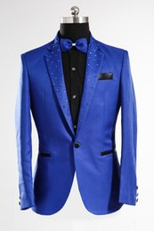 Wholesale Male Sequin Blazer - Royal Blue Jacket Male Costume Nightclub Party Stage Wear Apparel Christmas Performance Blazers Clothing