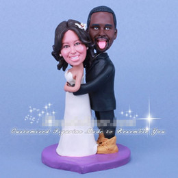 Wholesale Clay Ideas - Funny and Humorous African American Wedding Cake Toppers coule bobbleheads clay doll best memory gift idea