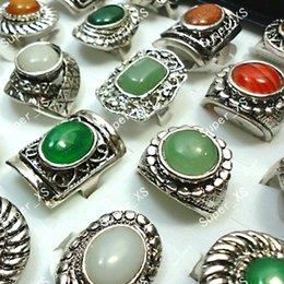 Wholesale Tibet Silver Natural Stone Rings - Fashion Top Retro Natural Stone Adjustable Women Tibet Silver Plated Rings Whole Jewelry Lots LR074 Free Shipping