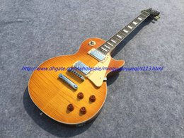 Wholesale Electric Guitar Amber - Best Selling PL see thru amber yellow electric guitar chrome parts!