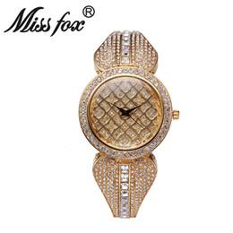 Wholesale Gold Crystal Watches - New Model Women Fashion Bling Crystal Stainless Steel Analog Quartz Miss Fox Luxury Rhinestone Wrist Watch