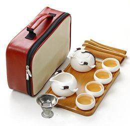 Wholesale Black Bone China - 11pcs Tea Tray Travel Bag The Ding Kiln Portable Travel Tea Set,quick Cup,teapot Kettle,gaiwan.kung Fu Tea Set