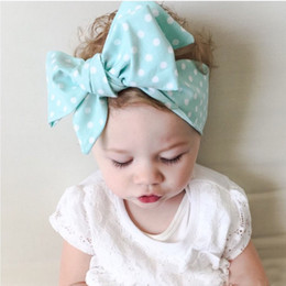 Wholesale Vintage Style Hair - Vintage Style Infant Baby Girls Dots Floral Bow Headbands Toddler Princess Cotton Headwear 2016 Children's Hair Accessories