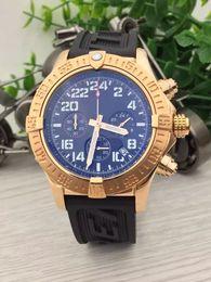 Wholesale Watches Brass Case - jason's store brand watches men chronomat blackbird edition watches rubber band gold case watch quartz chronograph watch men wristwatches