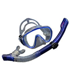 Wholesale Diving Equipment Set - Wholesale- 2017 New Professional Goggles Anti-Fog Goggles Goggles Diving Mask Snorkel Silicone Set Fishing Swimming Pool Equipment 4 Colors