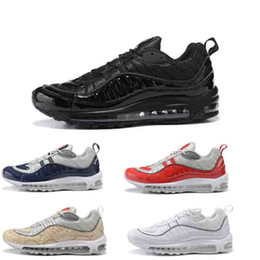 Wholesale Tassel For Shoe Laces - Free shipping AIR 98 Men's Running sport Shoes Original quality air cushion sneaker for men Eur40-46