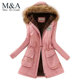 Wholesale Slimming Down Coats Women - Wholesale-2016 Womens Faux Fur Lined Parka Coats Outdoor Winter Hooded Long Jacket plus size snow wear coat large fur thickening outerwear
