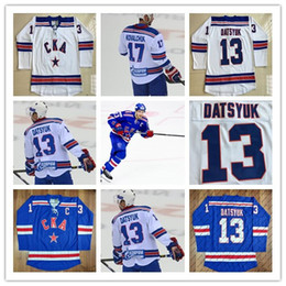 Wholesale Kovalchuk Jersey - 13 Pavel Datsyuk KHL Jersey, CKA St Petersburg 17 Ilya Kovalchuk KHL Blue White Custom Hockey Jerseys Cheap