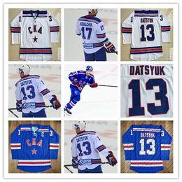 Argentina 13 Pavel Datsyuk KHL Jersey, CKA San Petersburgo 17 Ilya Kovalchuk KHL Azul Blanco Custom Hockey Jerseys Barato supplier pavel datsyuk white jersey Suministro