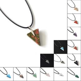 Wholesale Triangle Heart Necklace - ZHEPIN Gemstone Triangle Pendant Necklace Natural Stone Healing Energy Gemstone