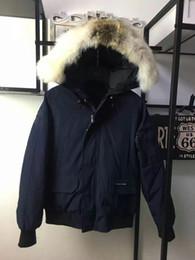 Wholesale Overcoat Fur Mens - C14 CHILLIWACK Euro Size Mens Popular Wolf Fur Collar Winter Jakcet Warm Plus Size Male Down Manteau Good Quality Hooded Overcoats
