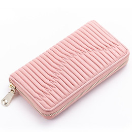 Wholesale Large Leather Clutch Bags - Womens Sheepskin Long ID Credit Card Wallet Leather Matelasse Clutch Bag Money Purse Real Leather Famous Brand Large Capacity Long Wallet