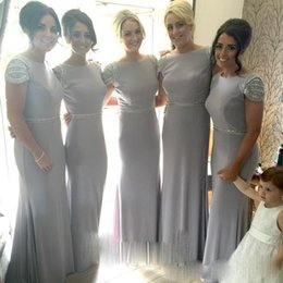 Wholesale Bridesmaid Party Dress Woman - Wholesale Long Mermaid Bridesmaid Dresses With Short Sleeves Scoop Beaded 2016 Bridal Gown Party Dress For Women Cheap