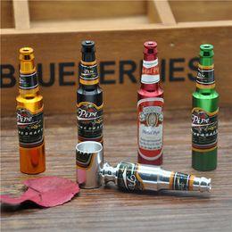 Wholesale Wine Bottle Types - Retail Wholesale Bottle shape Metal Pipe Smoking pipes steel Magic Small Wine bottle Smoking Pipe Promotion