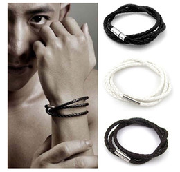 Wholesale White Braids - European and American foreign trade men's multi-layer braid bracelet, South Korea hot style leather cord bracelet bracelet wholesale