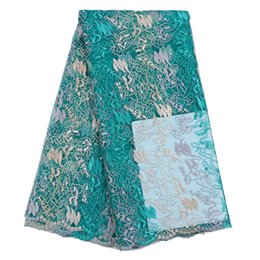 Wholesale Swiss African Lace Fabric Wholesale - Latest african cord lace fabric French lace fabric swiss voile lace high quality fashion embroidery leaf turquoise for wedding lace