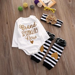 Wholesale Romper White Baby Cotton Unisex - 2016 fashion Infant Baby Girls sets Cotton Clothes Long Sleeve Romper+Leg Warmer+hair band kawayi kids boy girl casual Outfits top Set 3pcs
