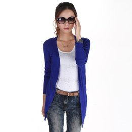 Wholesale Wholesale Long Sleeve Shrugs - Wholesale- 2017 Ladies Casual Loose Cardigan Sweater Women New Design Autumn Candy Color Sweaters Tops Solid Knitted Shrugs Dropshipping