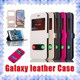 Wholesale Note Flip Battery Cover - Samsung Galaxy Leather Flip Window Phone Case Cover for Note 4 Note 5 Galaxy S6 S7 Edge Plus 01