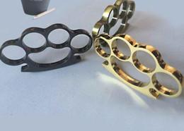 Wholesale Broken Rings - Steel Brass knuckle dusters four finger trigger ring finger buckle finger tiger broken window outdoor equipment Protective Gear Steel