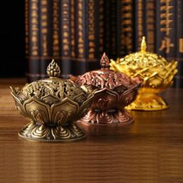 Wholesale Buddhist Bowl - Tibetan Lotus Incense Burner Mini Alloy Bronze Censer Metal Craft Home Decor Buddhist Living Room Supplies XHH8014