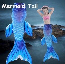 Wholesale Girls Swimsuit 3pcs - Girls Fin Mermaid Tail Biniki 3pcs   1set Swimmable Tail Swimming Costume kids Mermaid Tail Swimsuits Swimwear Bathing Suit KKA1964