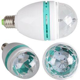 Wholesale Led Disco Ball Light E27 - RGB LED bulb Full Color 3W 220v projector Crystal Stage Light Magic Ball E27 B22 DJ dance party disco effect led Light Bulb Lamp DHL Free