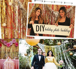 Wholesale Party Backdrops - New 1x2 Meters Gold Foil Fringe Tinsel Curtain Tassel Garlands Wedding Photography Backdrop Birthday Party Decoration