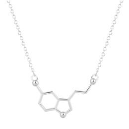 Wholesale Unique For Sale - 10pcs lot Hot Sale Serotonin Molecule Chemistry Necklace Unique Charm Pendant Friendship Minimalist Brand Jewelry for Women Girls