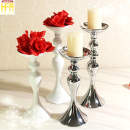 Wholesale Candles Holders Wholesale - Silver Candelabra Candlestick Holder Wedding Party Iron Candlestick Household Table Ornaments White Silver Color Furnishings Multi Sizes