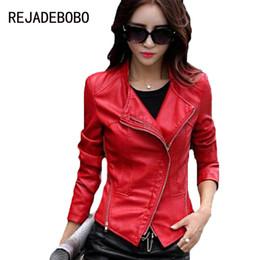 Wholesale Girls Size Outerwear - Wholesale- 2017 Spring Women Leather Clothing Female Slim Leather Jacket Women Motorcycle Clothing Outerwear Girls Plus Size 3XL Coat