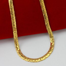 18-дюймовая платиновая цепь Скидка Быстрая бесплатная доставка прекрасные свадебные украшения горячая распродажа! 24k желтое золото елочка змея мужчины цепи ожерелье ширина: 5 мм, длина: 55 см, вес: 21.8 г