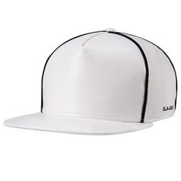 Wholesale Leather Hat Buckles - Faux Leather Buckle Snapback Baseball Cap Flat Brim Hip Hop Hat Adjustable C00284 SMAD