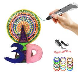 Wholesale Pens Abs Plastic - DIY 1.75mm ABS PLA LED 3D Pen Maker Dauber +15M Free Filament 3D Printing Pen Creative Item Gift For Kids Drawing
