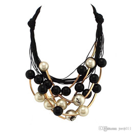 Wholesale Black Pearl Choker - Star Graceful Jewelry Pearl Necklace Black Rope Chain Beads Golden Tube Statement Collar Choker Necklace For Women Dress CE1570